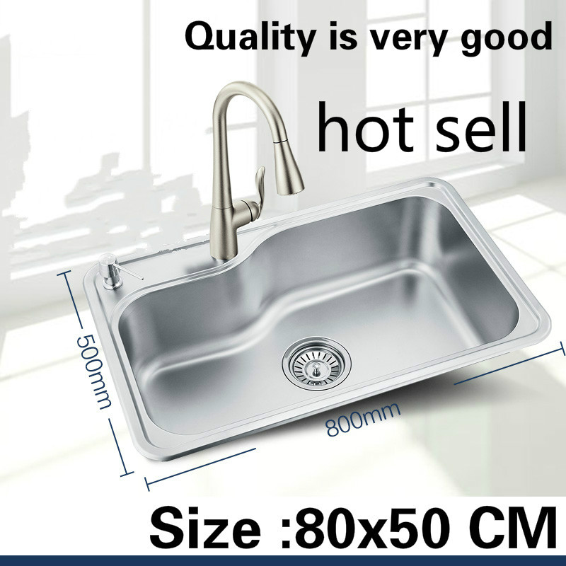 Free Shipping Luxury Kitchen Single Trough Sink Durable 304 Food-grade Stainless Steel Wash The Dishes Big Hot Sell  800x500 MM