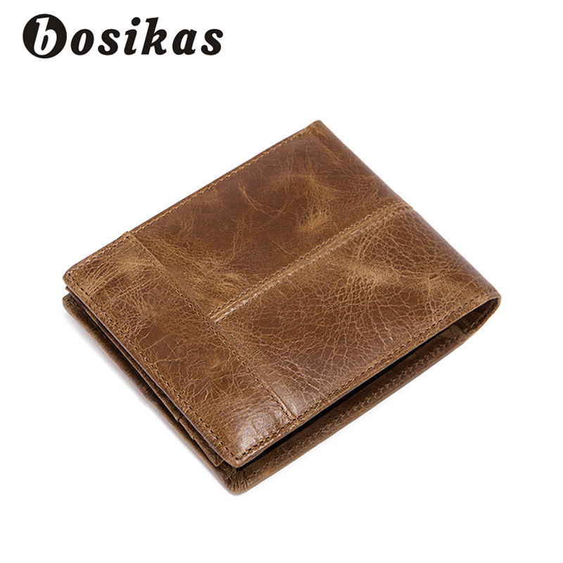 BOSIKAS Money Clips Genuine Cowhide Leather Men Wallet Small Vintage Wallet Short Coin Bag Brand High Quality Designer Casual