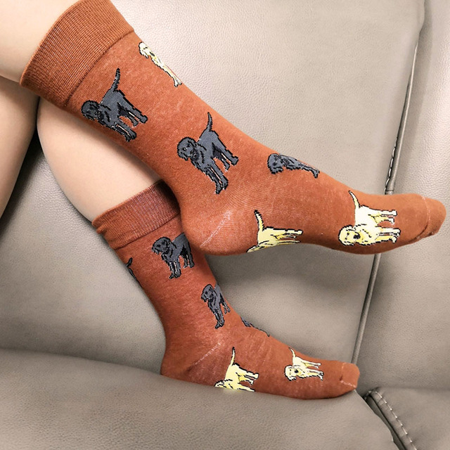 FUN SOCKS CRAZY labrador retriever socks for women with dog lab mom gift for labrador lovers 12pair wholesale