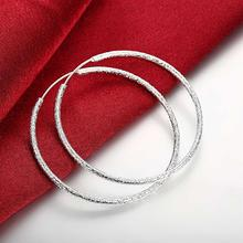 New Scrub Round Creole Big Hoop Earrings for Women Silver Smooth  Earring European Brand Fashion Jewelry