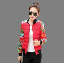 2016Autumn Winter New Fashion Women Short Cotton Down Jacket Leisure Big yards Splicing Printed Baseball uniform