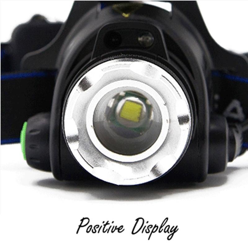Регулируемый светодиодный налобный фонарь Водонепроницаемый датчик движения кузова Мощный T6 фар