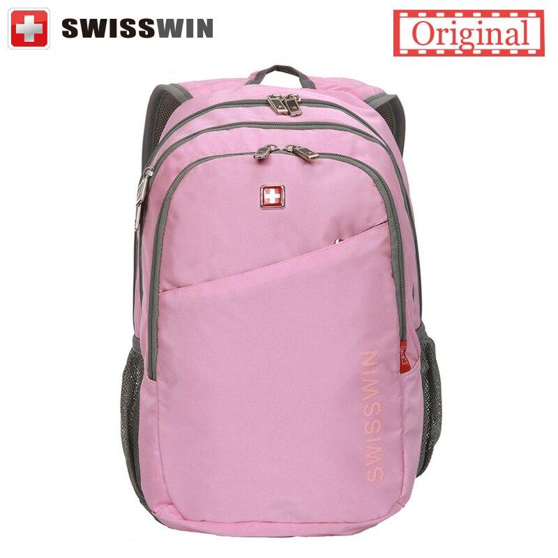 все цены на  Swisswin Brand Backpack Women Swiss mochila feminina Multi-Pocket Backpack For Teenage Gils Stylish Pink Schoolbag Sac a dos  онлайн