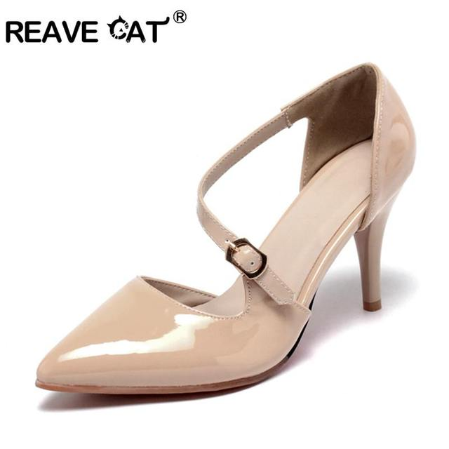 133cbdbff80 REAVE CAT woman High heels shoes Ladies Sexy Pointed Toe pumps Buckle  rivets red heels dress wedding shoes sapatos mujer A384