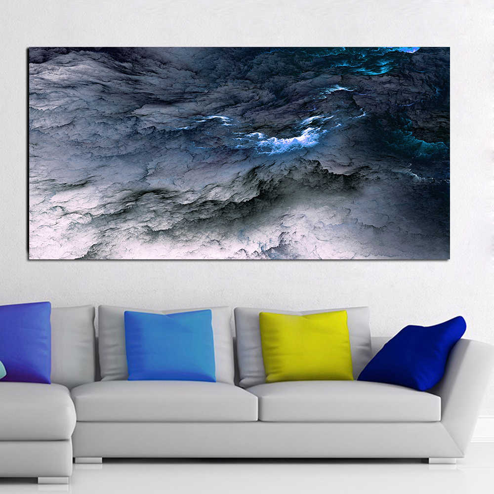 AAVV Large Size Canvas Poster Art Prints Cloud Abstract Black Blue Oil Painting for Living Room Decorative Picture Pop Home