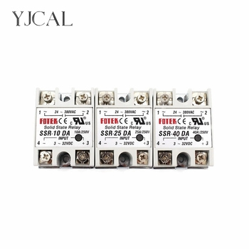 Solid State Relay SSR-10DA SSR-25DA SSR-40DA 10A 25A 40A Actually 3-32V DC TO 24-380V AC SSR 10DA 25DA 40DA ssr 10da 25da 40da dc control ac ssr white shell single phase solid state relay without plastic cover