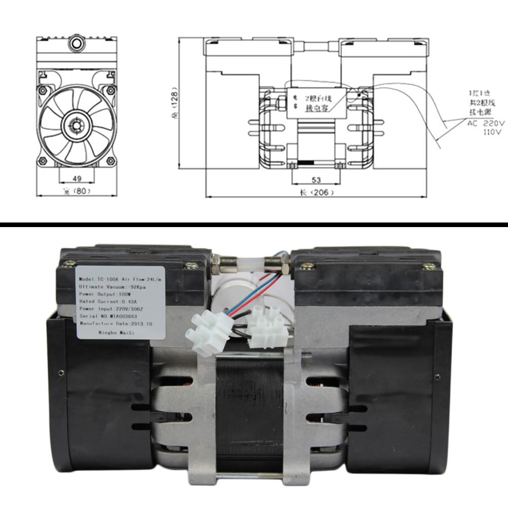 Image 5 - YIMAKER 110 V/220 V マイクロ真空ポンプダブルヘッドオイルレスダイヤフラム真空ポンプ 100 ワット 60  60HZ 24L /分 30L/分医療の特殊    グループ上の 家のリフォーム からの パンプス の中