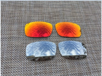 Silver & Red  Polarized Replacement Lenses for Crankshaft Sunglasses Lens Only-2 Pairs