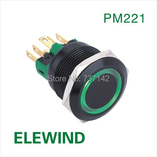 ELEWIND 22mm BLACK aluminum Ring illuminated Latching push button switch(PM221F-11ZE/G/12V/A/IP65)