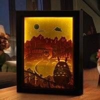 3D Paper Carving Light Totoro Warm White Night Lights PS Frame LED Night Lamp Table Light For Children's Room Decor Lamp Gift
