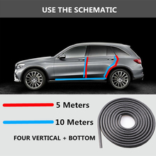 5M/10M Universal Car Door Edge Scratch Protector Strip Sealing Guard Trim Automobile Stickers Decoration Car-styling