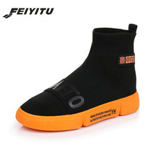 feiyitu Women Sock Boots 2019 New Stretch Fabric Shoes Slip On Ankle Falts For Womens Black Gray White  35-40
