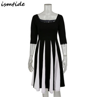 Ismtide Women Black And White Striped Dress Half Long Sleeve Faldas Festa Casual Fit And Flare