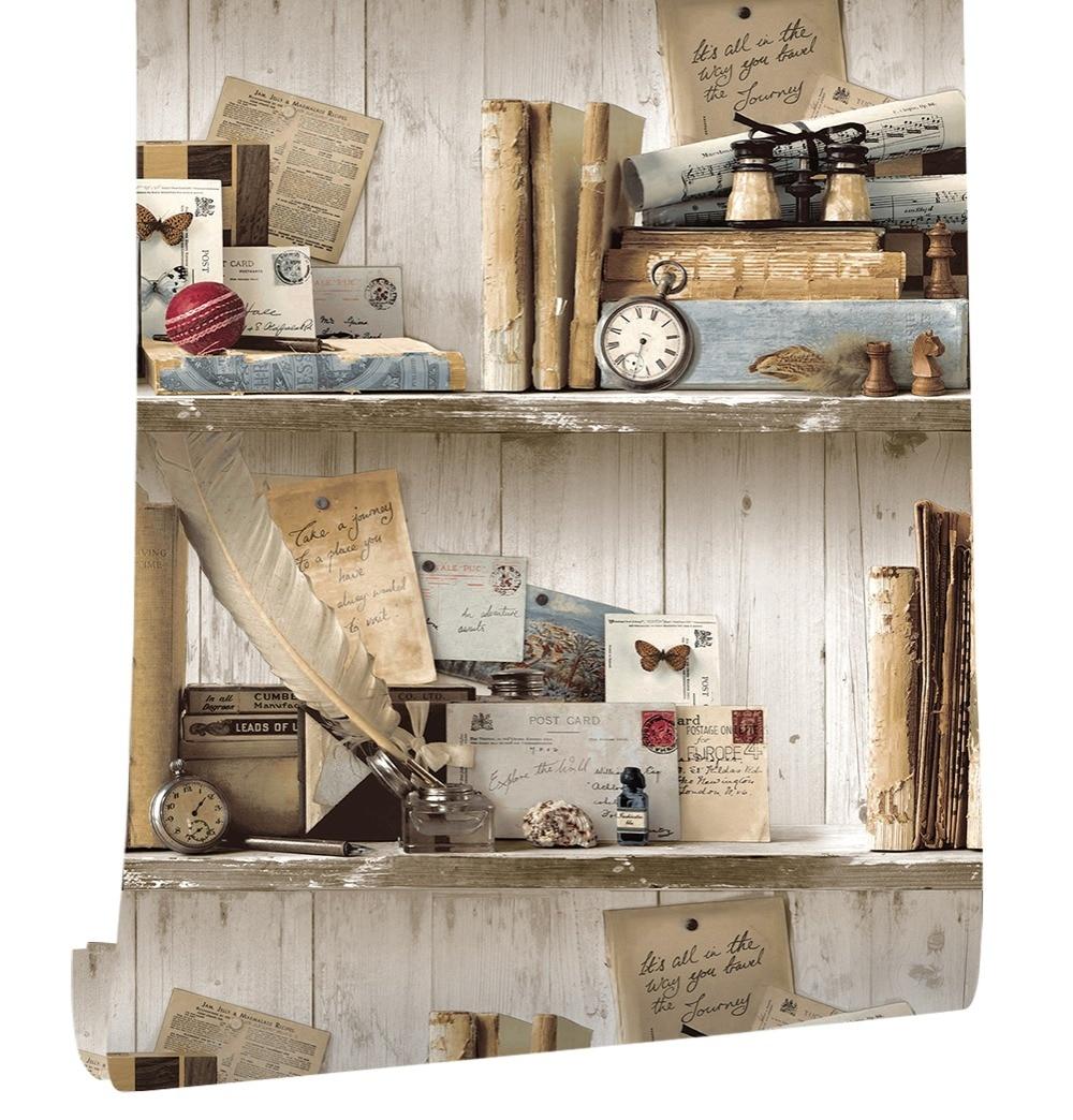 Haokhome Vintage Bookshelf Wood Wallpaper White Grey For Wall 3d Library Vinyl PVC Photo Sticker Bedroom Living Room Decor