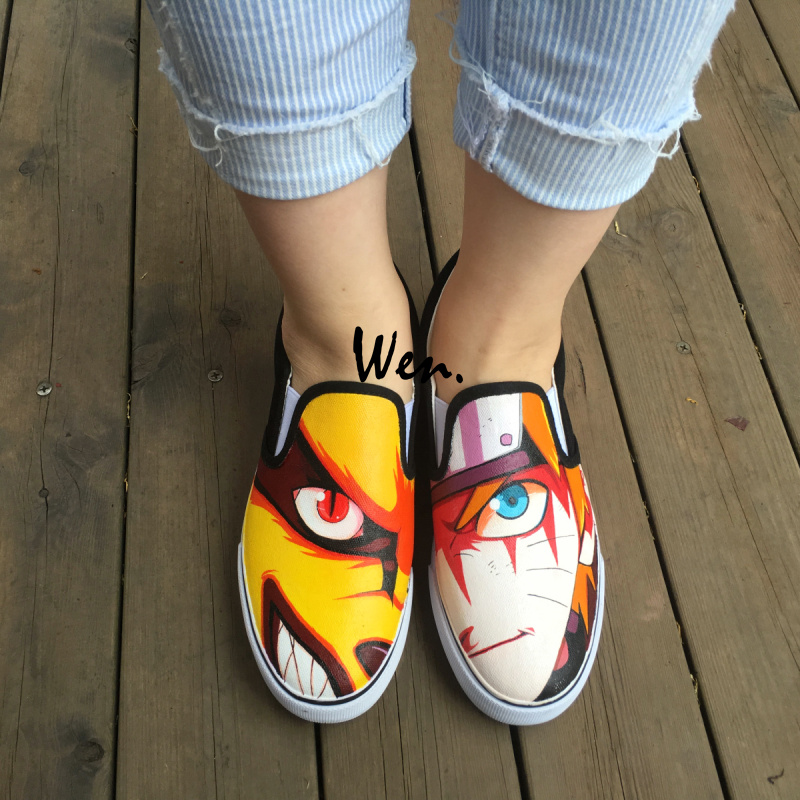 Wen Hand Painted Shoes Anime Uzumaki Naruto Canvas Sneakers Black Slip On Skateboarding Shoes for Man Woman glowing sneakers usb charging shoes lights up colorful led kids luminous sneakers glowing sneakers black led shoes for boys