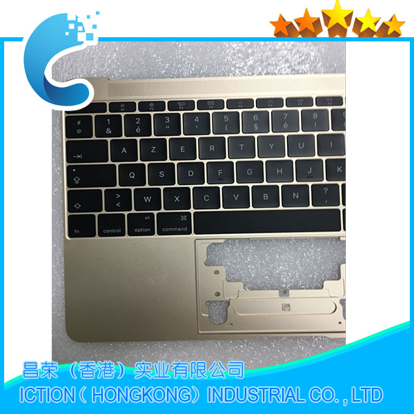Original For Macbook Pro Retina 12 A1534 Topcase With Keyboard Upper Top Case Palmrest French Layout 2015 Years Gold Color