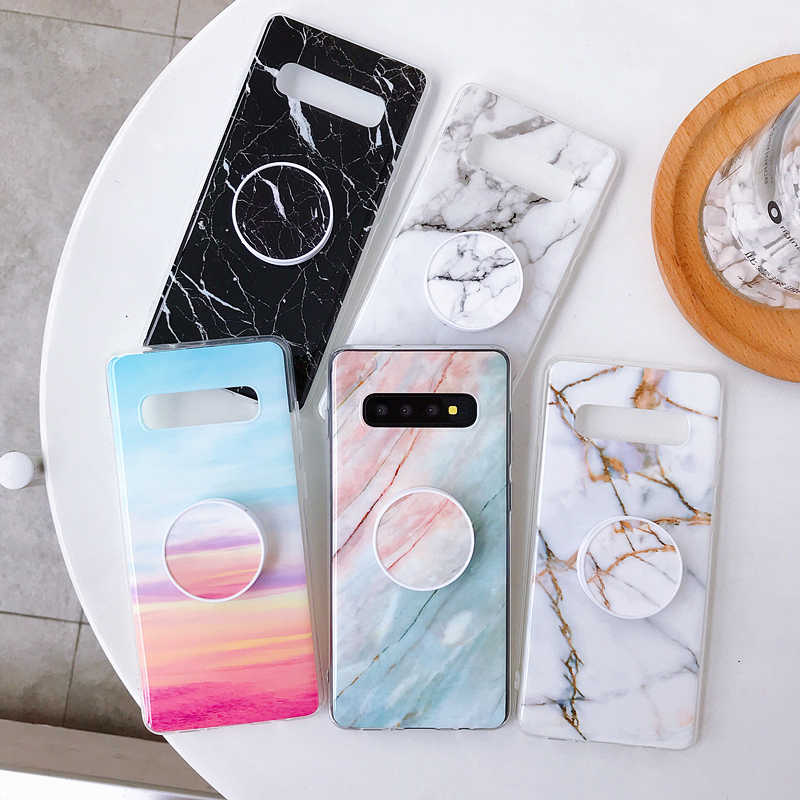 Marmer Telefoon Case Voor Samsung Galaxy M10 A10 A20 A30 A50 A90 S7 rand S8 S9 S10 Plus Note 8 9 10 Pro Houder Stand Back Cover Kapa