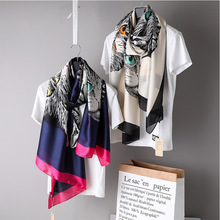 4622339a5 2019 Spring Kitty Print Long Scarve Women Luxury Chiffon Shawl Vintage  Brand Designer Wraps Ladies Silk