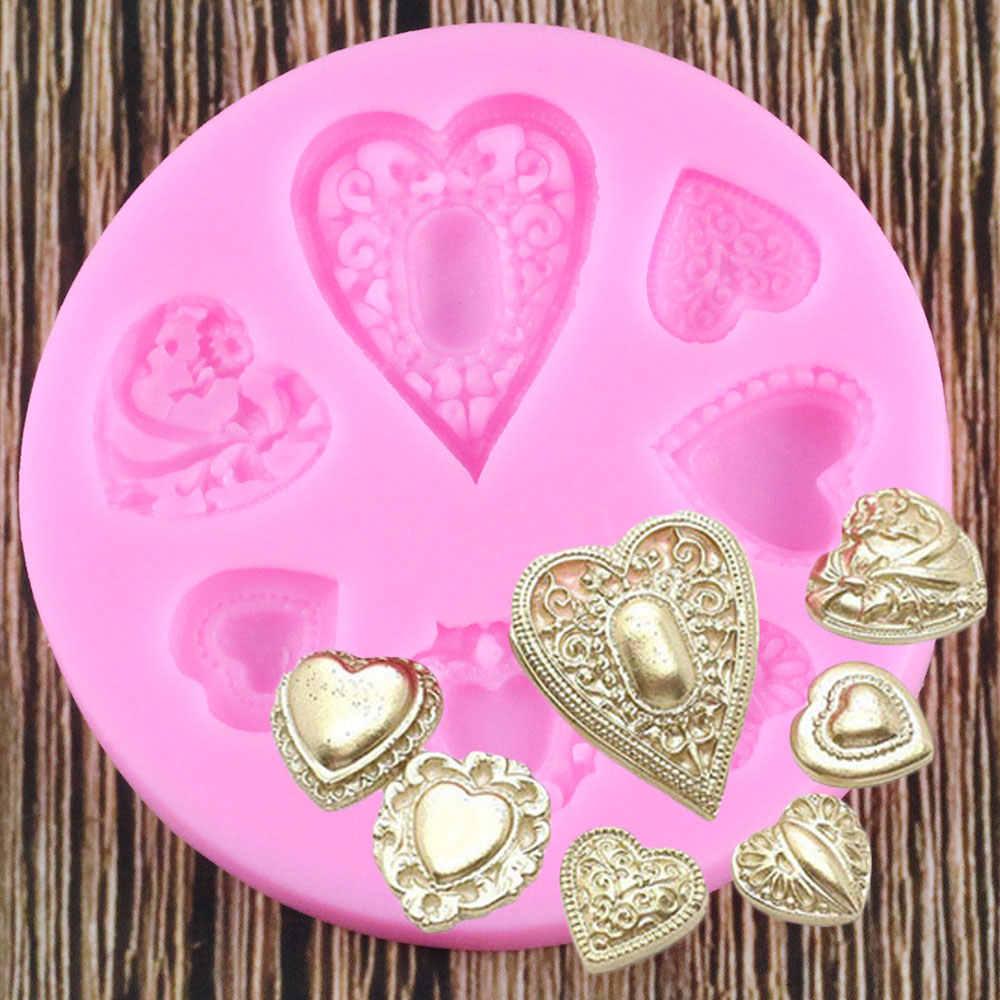 愛の宝石バレンタインデーのチョコレートの装飾ツール DIY ハートベーキングフォンダン形 Fimo シリコーン型