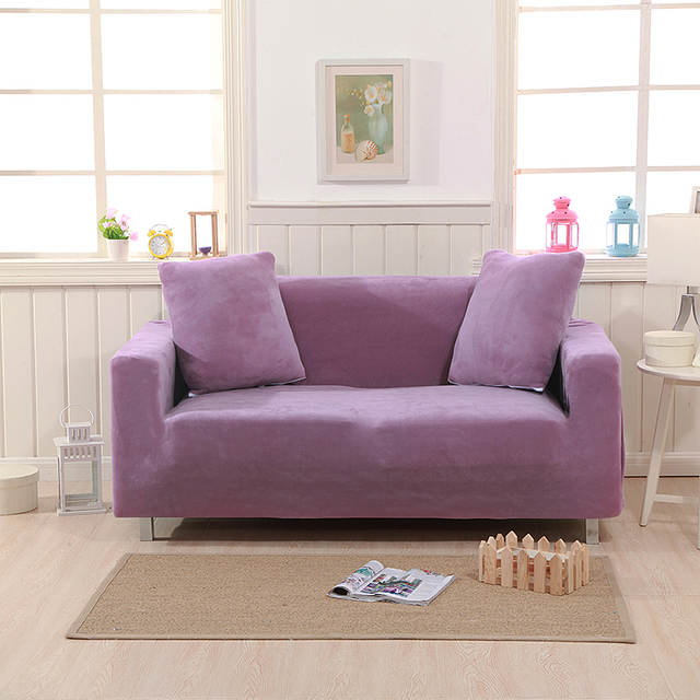 2019 Simple Dark Purple Microfiber Stretch Elastic Chair Loveseat L Shape  Sectional Sofa Cover Slipcover Spandex/Polyester