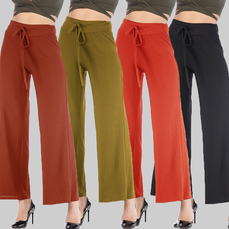 Plus Size Solid Color Wild Pleated   Wide     Leg     Pants   For Women Office Female Summer High Waist Loose Korean Fashion Casual   Pants