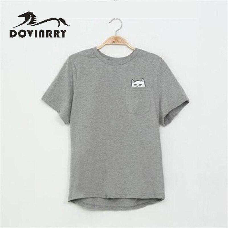 DOVINRRY T-shirt Women Casual Lady Top Tees Cotton Tshirt Female Brand Clothing T Shirt Printed Pocket Cat Top Cute Tee Harajuku