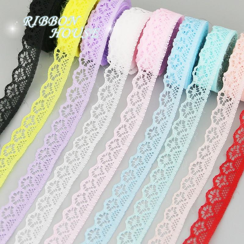 (10 ярдов/рулон) 15 мм белая кружевная ткань тонкая лента для украшения упаковочный материал розовый красный синий