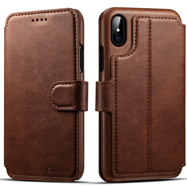 OHD PU Calf Leather Flip Wallet Bag Phone Case with Card Slots Holder for Apple iPhone X/8 Plus/8/7 Plus/7/6s Plus/6s/6 Plus/6