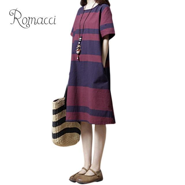 26ecff92c1 Romacci 2019 Summer Dress Women Cotton Linen Dresses Casual Loose Striped  Comfortable Ladies Midi Robe Vestidos Size XXL