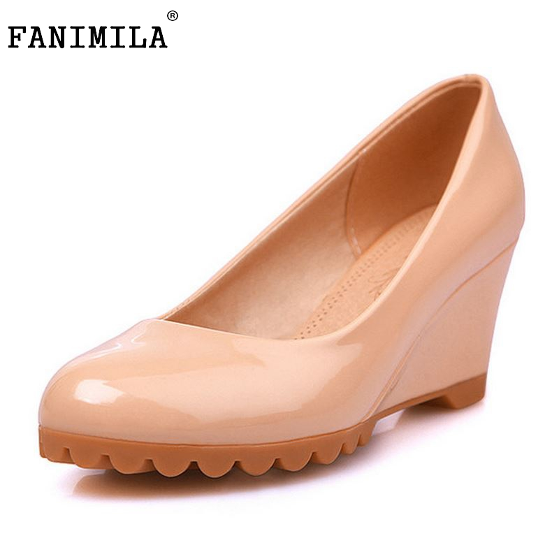 Round Toe Slip On Shoes 2016 Hot Selling Fashion Ladies Casual Wedge Heel Autumn Comfortable Women Shoes Size 34-40 hot selling black white women genuine leather shoes woman fashion hidden wedge heel lace up casual shoes size 33 40