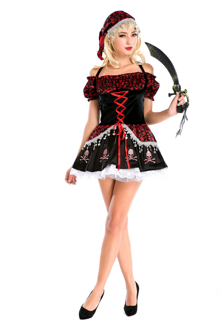 High Quality Halloween Pirates of the Caribbean cosplay costume queen dress Vampire costume Sexy Witch role playing Costumes