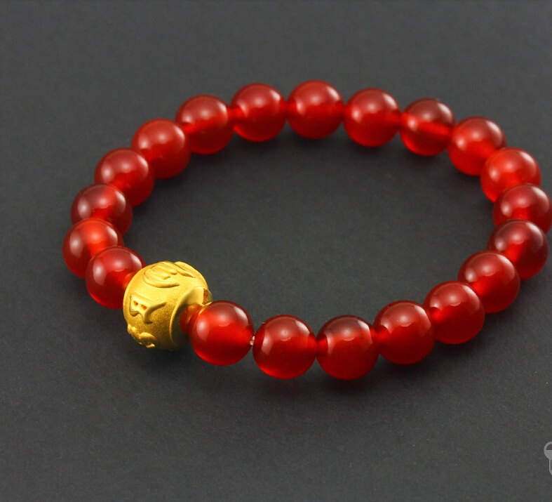 Hot sale 999 24k Yellow Gold 3D Beads Red  Bracelet  1.29gHot sale 999 24k Yellow Gold 3D Beads Red  Bracelet  1.29g