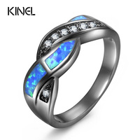 Kinel Vintage Colorful Blue Opal Rings For Women Black Gun Jewelry Wholesale Fashion Party Cocktail Ring