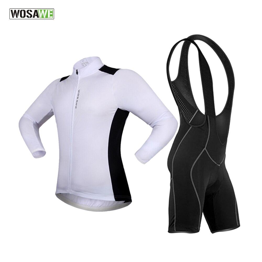 Wosawe & рег 2018 длинным рукавом Велоспорт Джерси +нагрудник шорты гоночный велосипед форма одежды де ciclismo Велоспорт одежда