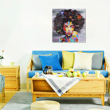 Street graffiti art African girl Printed Oil Painting Wall Art Painting Home Decorative Picture For Living Room(China)