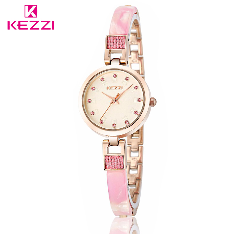 KEZZI Brand Female New Design Quartz Crystal Dracelet Stainless Steel Bracelet Wrist Watch Rhinestone Dial Quartz Watches Women stylish 8 led blue light digit stainless steel bracelet wrist watch black 1 cr2016