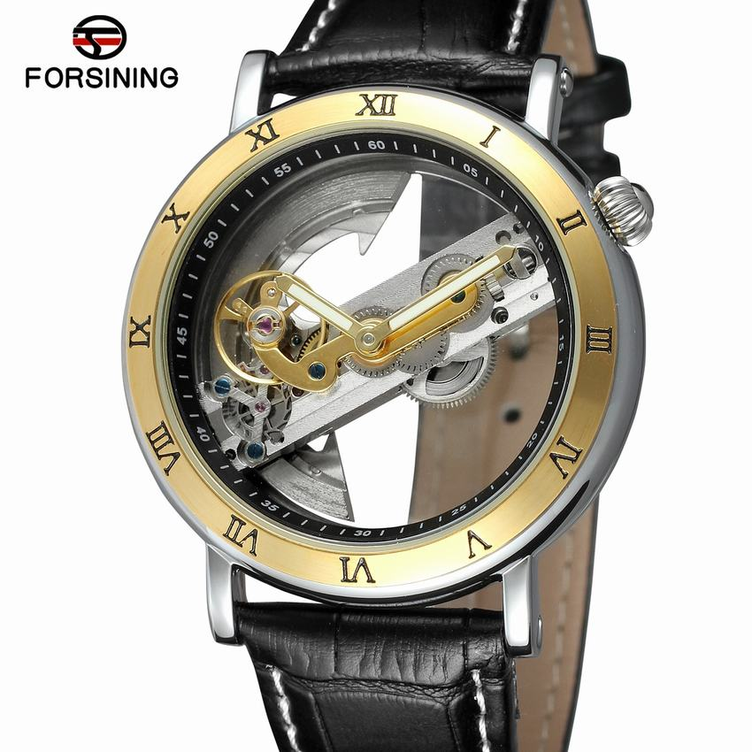 Forsining 2018 Luxury Design Transparent Case Brown Leather Strap Mens Watches Top Brand Luxury Automatic Skeleton
