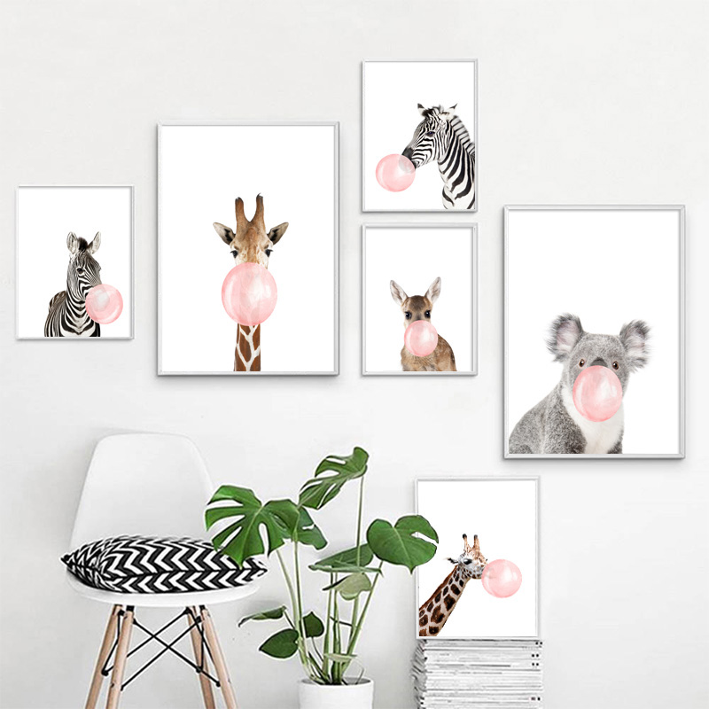 Zebra Giraffe Koala Bubble Nordic Posters And Prints Wall Art Print Canvas Painting Animal Wall Pictures Kids Room Pop Art Decor