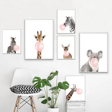 7-Space Kawaii Animal Bubbles Horse Giraffe Dog Canvas Art Print Poster Nursery Wall Picture Kids Room Decor Painting No Frame