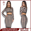 Women Set Fall Plaid Pencil Skirt Short Top O-Neck Long Sleeve Clothes For Party