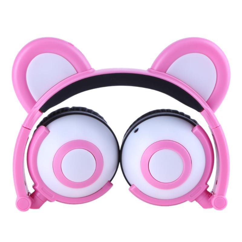 Portable 3.5 Jack Wired Headphone Ear Shaped Cute Foldable Stereo Headset Sport LED Light Gamer Games Headphones