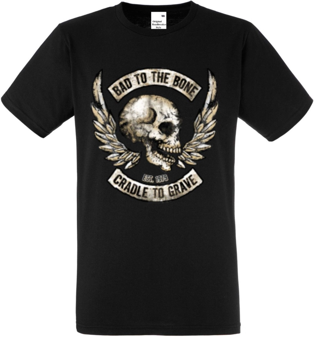Quality Shirts New Style Camiseta Negro Gotico MOTO Y Tatuaje Modelo Bad to the Bone M-XXXL 100% Cotton Top Tees