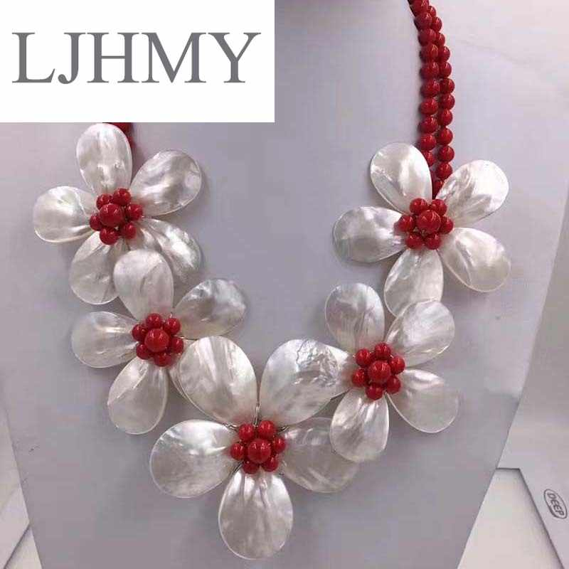 LJHMY Crystal Beads Freshwater Pearl White Sea Shell Flower Necklace for Women Statement Bib Wedding Party Choker Necklace
