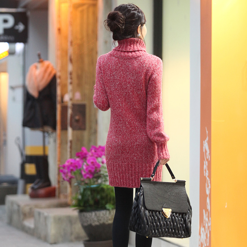d7ddecec1a Winter New Women Sweater Long Paragraph Slim Big Size Turtleneck Sweaters  Dress Bottoming Thicker Ladies Knitwear Pullover C810 on Aliexpress.com