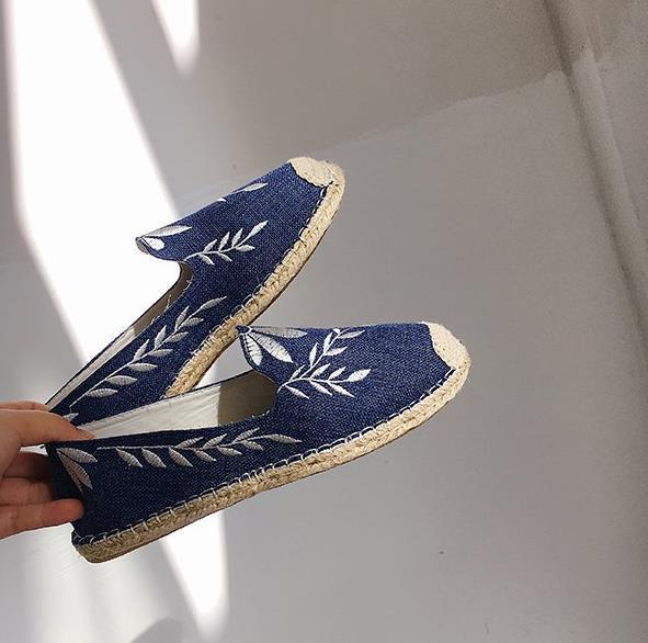 2018 Summer Graffiti Fisherman Shoes Flat Canvas Shoes Slip-on Leisure Breathable Linen Women Vulcanize Shoes Students Hemp New
