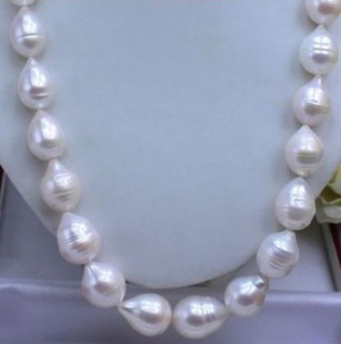 """free shipping 17"""" AAA 13-15MM REAL SOUTH SEA WHITE PEARL NECKLACE"""