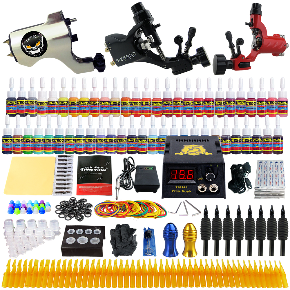 ФОТО Beginner Starter Complete Tattoo Kit Professional Tattoo Machine Kit Rotary Machine Guns 54 Inks Power Supply Grips Set TK355
