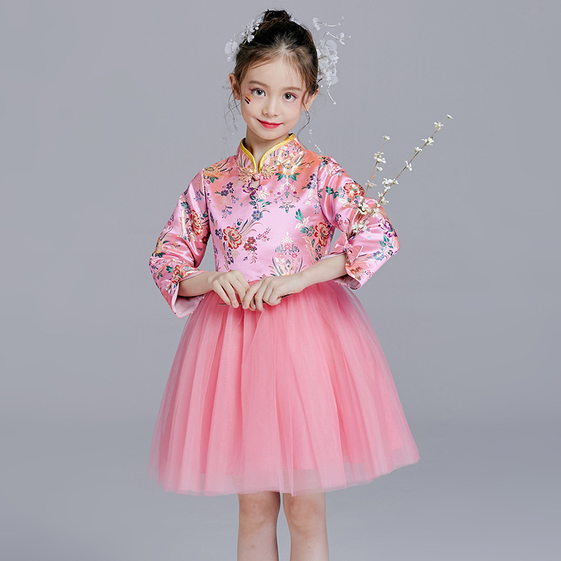 Chinese Style Flower Girl Dress Pink Cheongsam Girls Long Sleeve Dresses Princess Reine Des Neiges New Arrival 2016 spring new arrival 2 7y kids girl dress floral long sleeve chinese style cotton linen cheongsam children dress