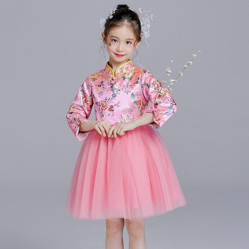 Style chinois robe de demoiselle d'honneur rose Cheongsam filles robes à manches longues princesse Reine Des Neiges nouveauté