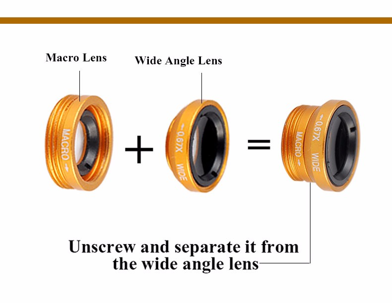 New Fish Eye lens,Wide Angle + Clear Macro Lens For Iphone 5s 6 7 Universal 3 in 1 Phone Camera Len For Sansung Huawei Sony HTC 11
